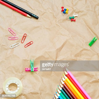office objects, square frame, top view : Stock Photo