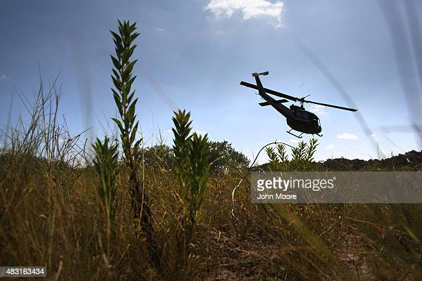 S Office of Air and Marine helicopter searches for undocumented immigrants north of the USMexico border on August 6 2015 near Falfurrias Texas Border...