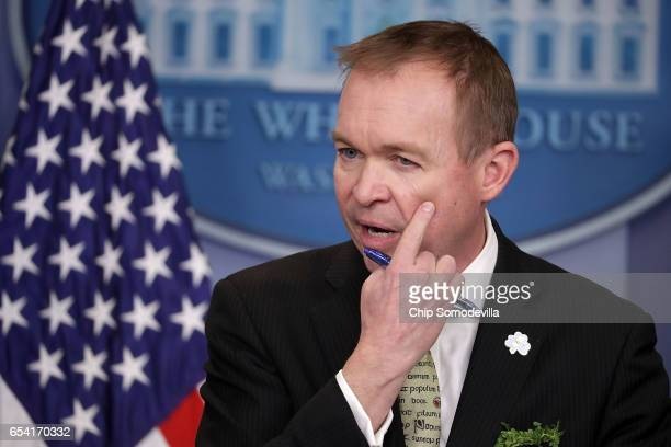 Office of Management and Budget Director Mick Mulvaney takes questions from reporters during a briefing in the Brady Press Briefing Room at the White...