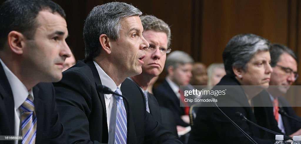 Office of Management and Budget Federal Controller Danny Werfel, Education Secretary Arne Duncan, Housing and Urban Development Secretary Shaun Donovan, Homeland Security Janet Napolitano and Deputy Defense Secretary Ashton Carter testify before the Senate Appropriations Committee about the potential impacts of 'the sequester' during a hearing on Capitol Hill February 14, 2013 in Washington, DC. 'The sequester,' automatic spending cuts to military and nonmilitary programs, will go into affect March 1 if Congress and the White House can not find common ground on a federal budget.