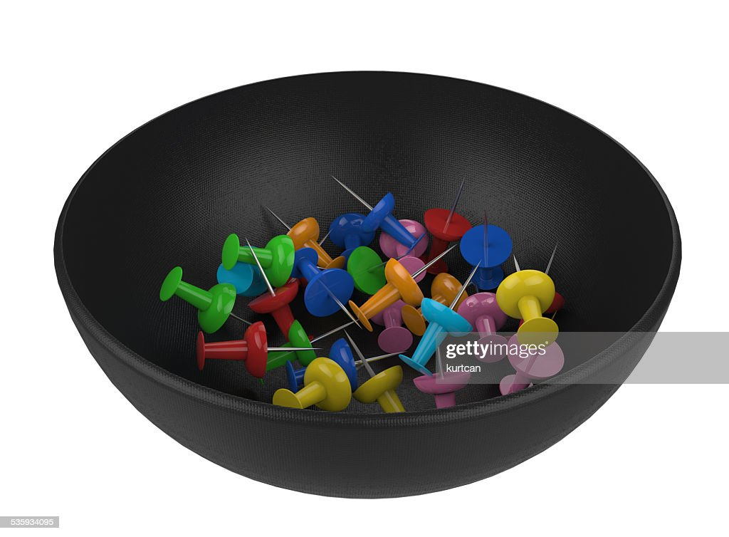 Office push pins with different angles : Stock Photo