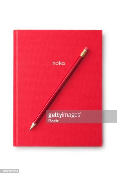 Bureau: Livre rouge et crayon