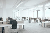 Office room with city view. 3D Rendering