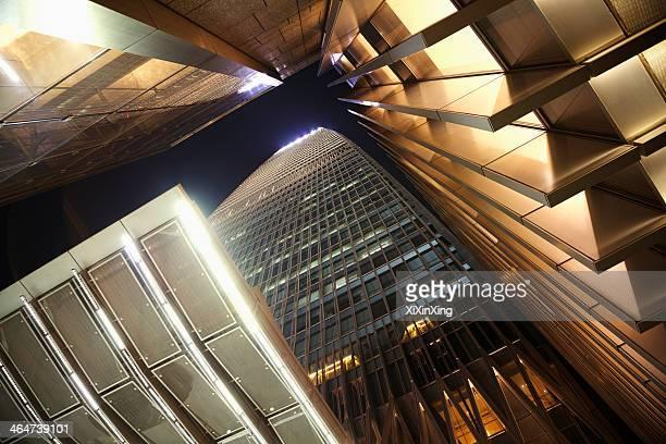 Office skyscraper, directly below, night time