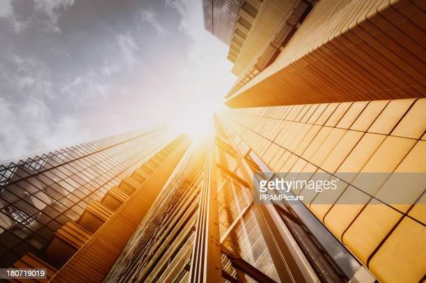 Oficina skysraper bajo el sol