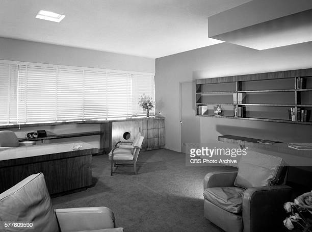 Office space of Donald W Thornburgh vicepresident in charge of CBS Pacific Coast operations Interiors at Columbia Square KNX Studios Hollywood CA...