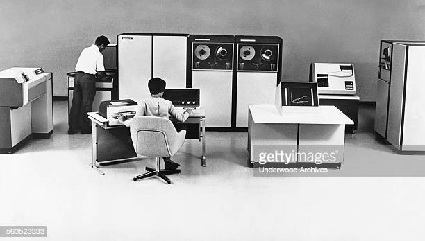 Office staff working at a new realtime Systems 86 computer system designed by Systems Engineering Laboratories Fort Lauderdale Florida September 1969