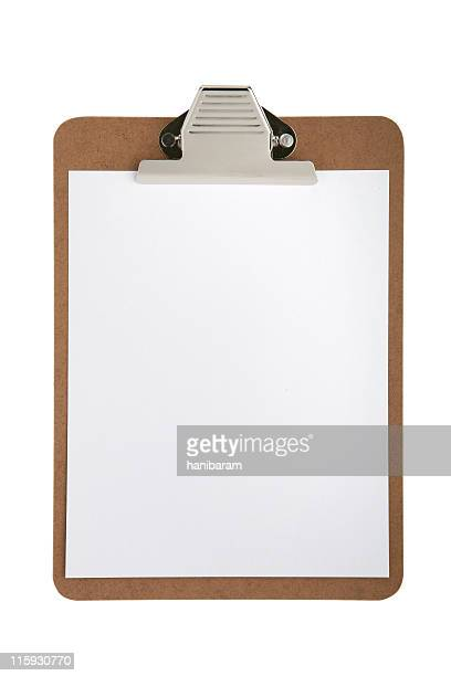Office style clipboard holding blank white paper