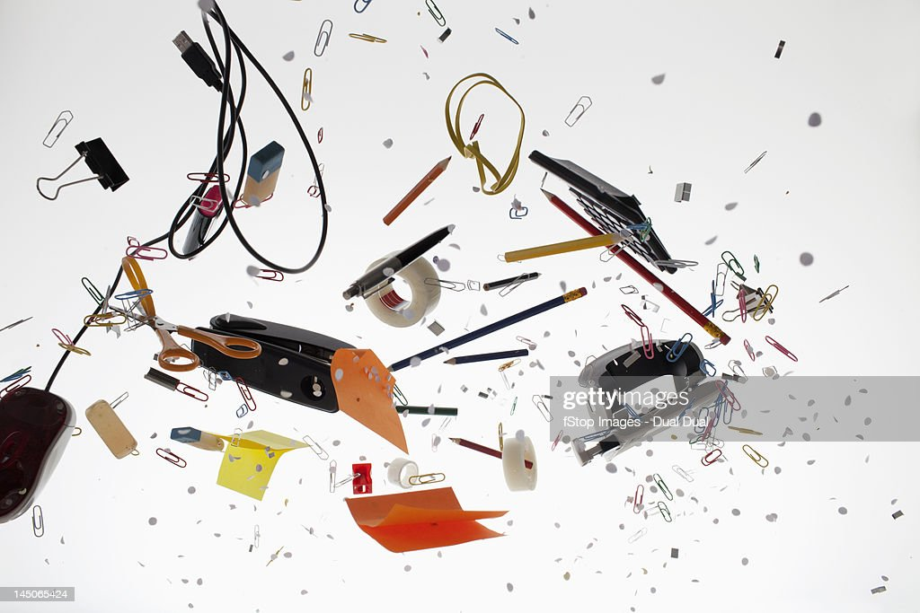 Office supplies against a white background
