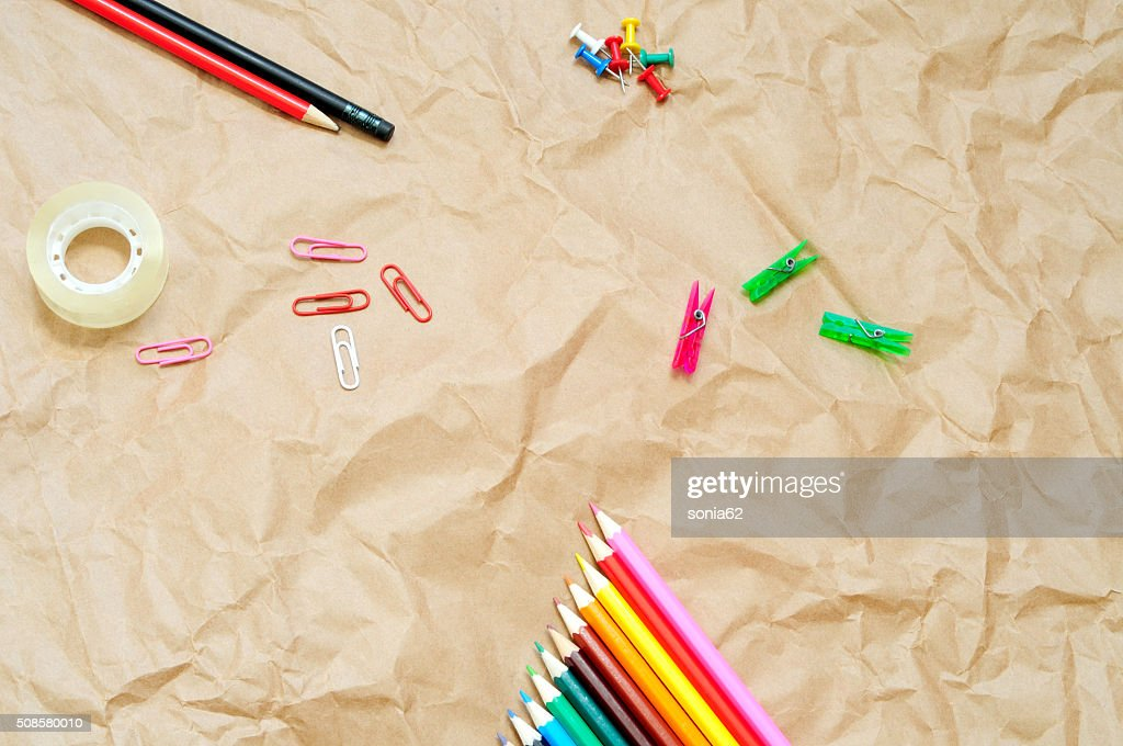 office supplies, flat background : Stock Photo