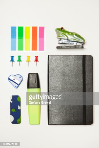 Office supplies neatly arranged