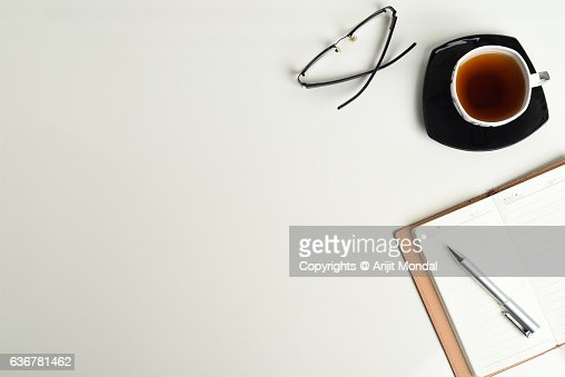 office table top view. Office Table Tops. Top View Shot With Tea Cup Notebook Eyeglass And Pen
