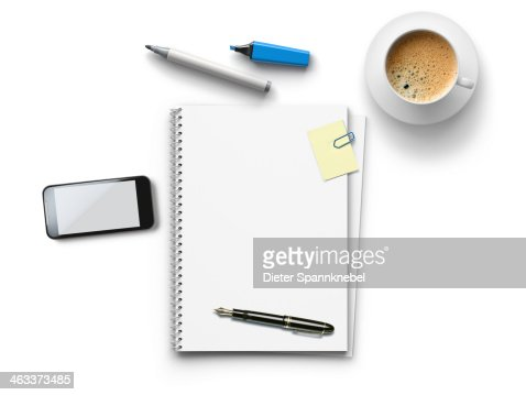 Office utensils for a meeting on a white table