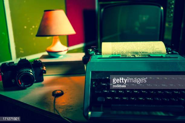 Office with Vintage Typewriter and Reflex Camera