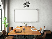 Cozy style office with blank white board on the wall
