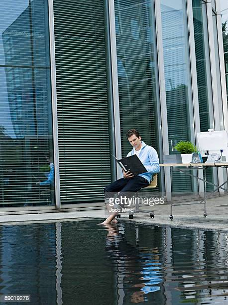 office worker at mobile office, outdoors