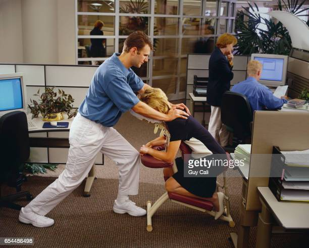 Office Worker Getting Chair Massage