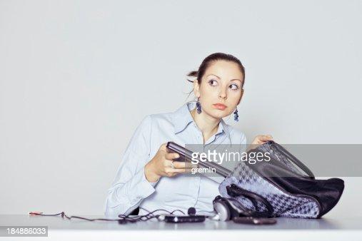 Office worker stealing company laptop