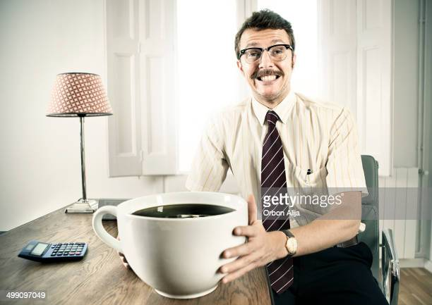 Office Worker With Giant Coffee