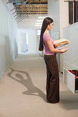 office worker with revealing shadow