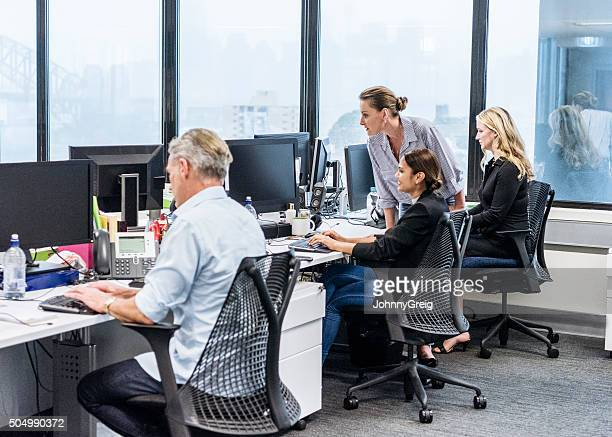 Office workers at desks using computer, female manager with staff