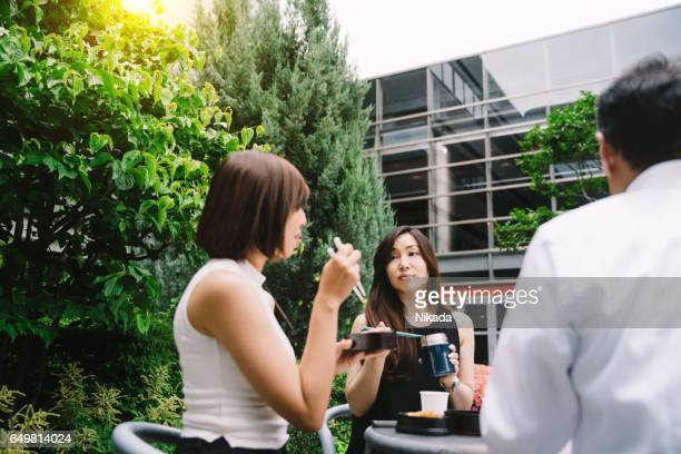 office workers having lunch, Kyoto, Japan