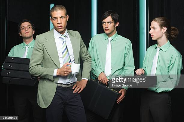 Office workers in green