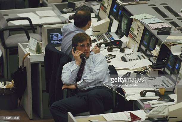 Office workers in the City of London on the day of the government deregulation of financial markets known as the Big Bang 27th October 1986 New laws...