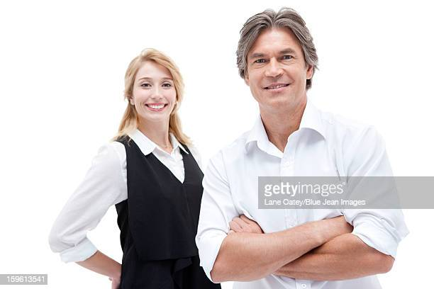 Office workers smiling