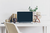 office working desk with laptop