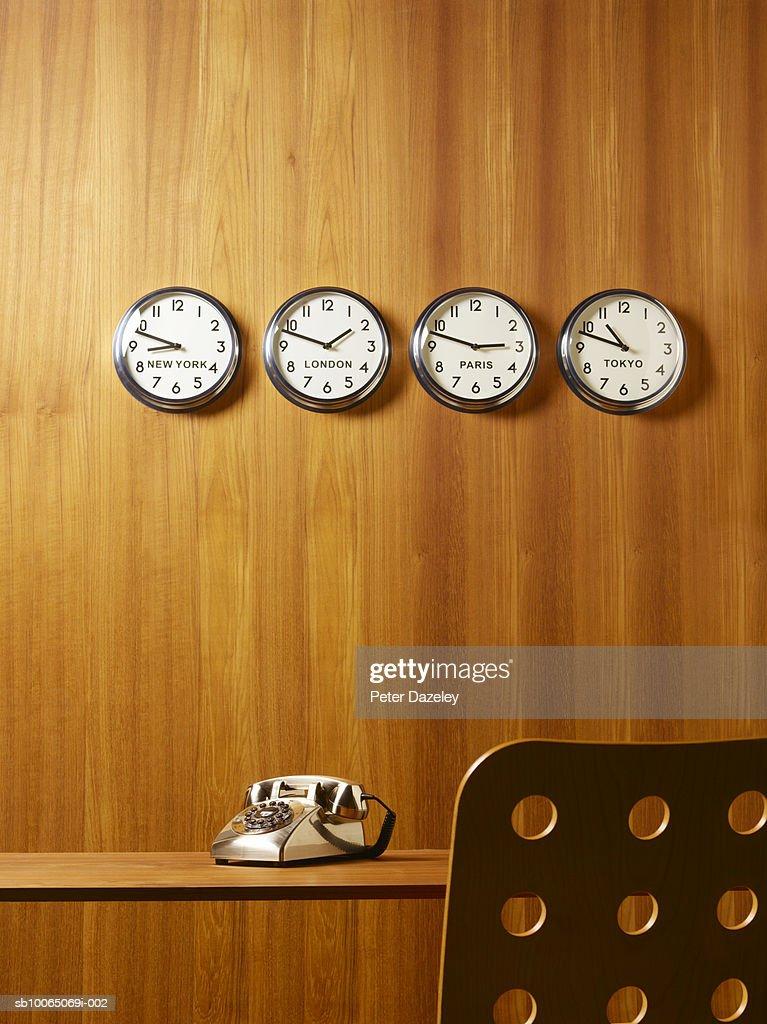office world desks. office world time clocks desk chair and telephone stock photo desks s
