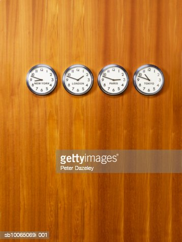 Office world time clocks on wall
