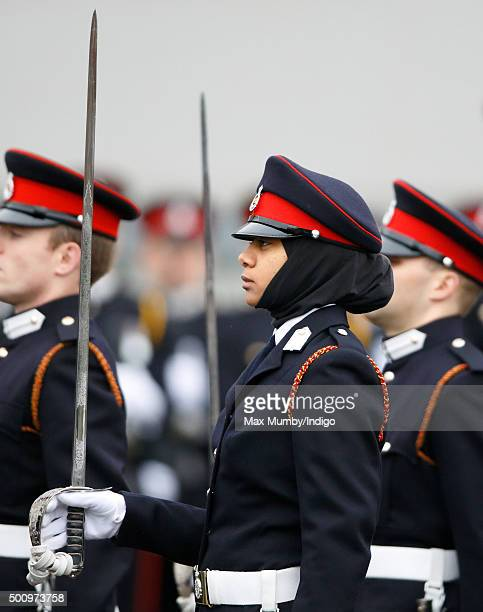 Officer Cadet Fatma Hassan Seleh Mubarak Bin Hamdan from the UAE wears a headscarf under her peaked cap as she takes part in the Sovereign's Parade...