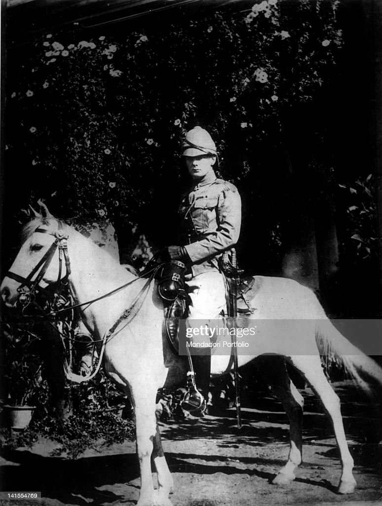 Officer of the Hussars and future British Prime Minister Winston Churchill posing in the saddle of his horse. India, 1896