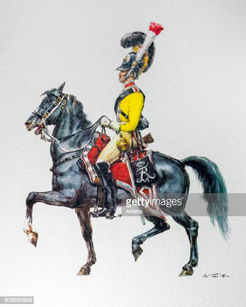 Officer on horseback in uniform of the Danish 1828 Garde du Corps
