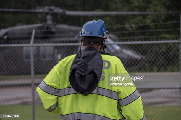 Officer PJ rushes towards the United States Army helicopter to see if they have any rescued patients for them at the MCHD EMS Station 30 heliport...