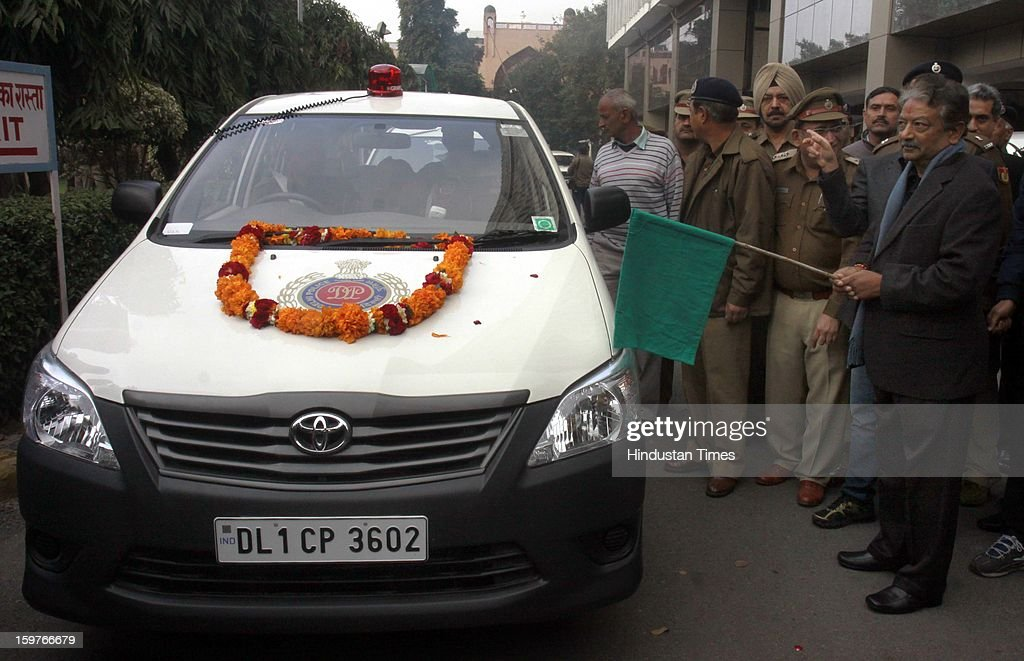 IPS officer & Special Commissioner of Delhi Police, Law/Order Deepak Mishra before flag off the new Police Control Room (PCR) vans wait during a flag off ceremony at PHQ on January 20, 2013 in New Delhi, India. In the wake of the recent gang-rape-cum-murder case, the Home Ministry recently gave approval for 370 new PCR vehicles in the capital and Delhi police are exploring new technologies to further enhance the performance of global positioning system-enabled 'Police Control Room' patrol vans by reducing their response time to distress calls.
