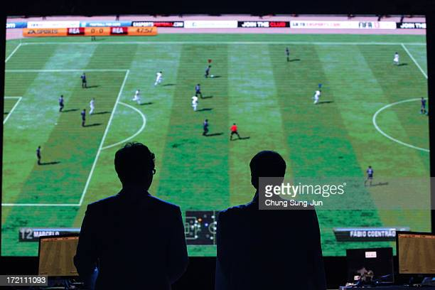 Officers attends in the eSports FIFA 13 semi final at Samsan World Gymnasium during day four of the 4th Asian Indoor Martial Arts Games on July 2...