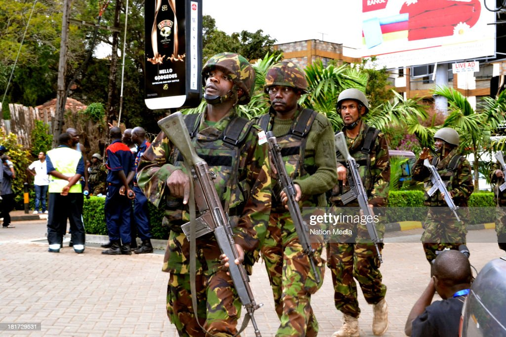 KDF Officers during a rescue operation at the site of the terrorist attack Westgate Mall on September 23 2013 in Nairobi Kenya The attack occurred on...