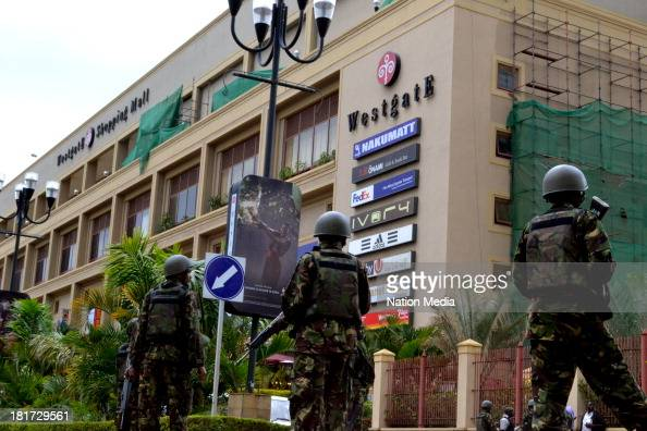 KDF Officers during a rescue operation at the site of the terrorist attack Westgate Mall on September 21 2013 in Nairobi Kenya The attack occurred on...