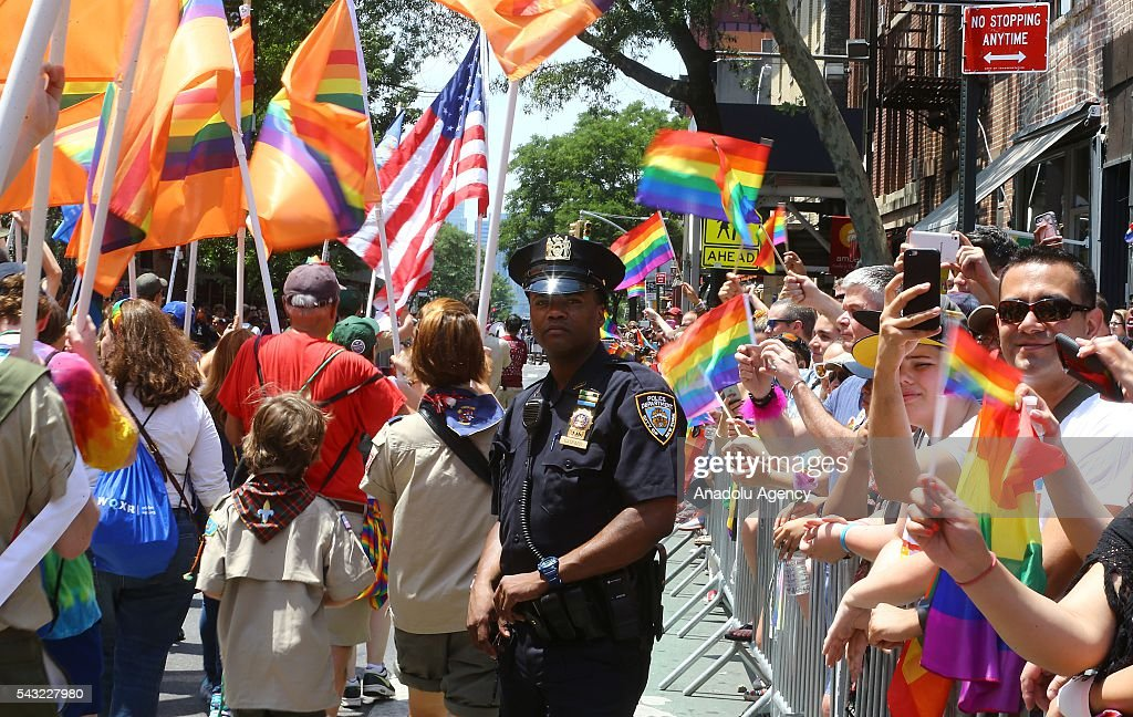 NYPD officers during the 46th annual New York City Gay Pride Parade in New York, New York, USA, 26 June 2016.