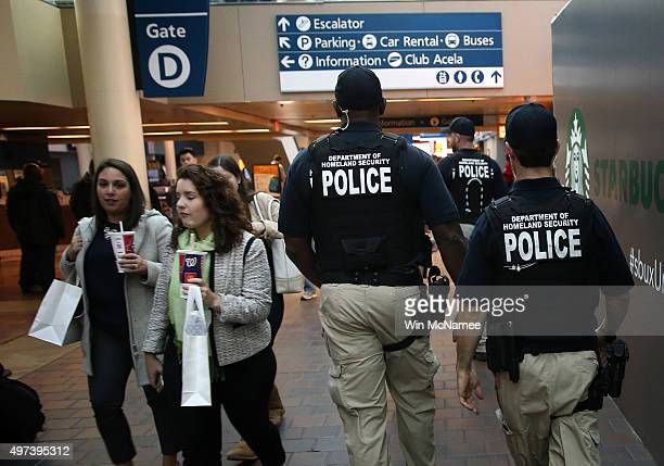 Officers from the Department of Homeland Security patrol Union Station November 16 2015 in Washington DC The Islamic State released a video this...