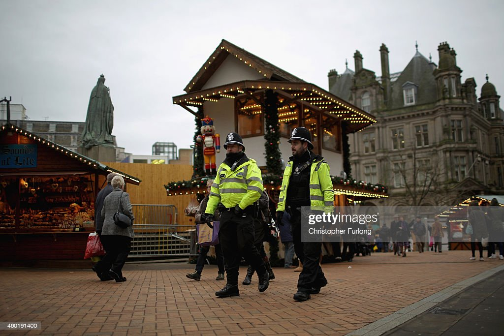 Officers from West Midlands police force patrol the streets of Birmingham during a security threat on December 9 2014 in Birmingham England Officers...