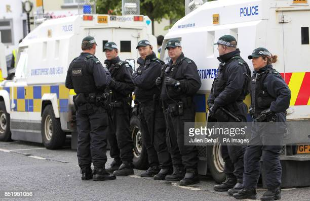 PSNI officers in Castlederg County Tyrone during the controversial parade by IRA supporters
