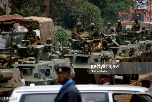 KDF Officers leave the Westgate Mall on September 25 2013 in Nairobi Kenya The Mall was hit with a terrorist attack on Saturday 1015 gunmen from the...