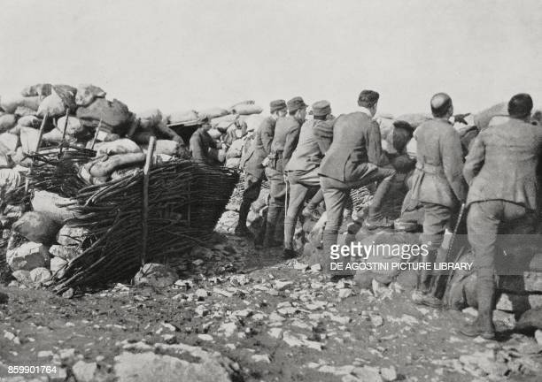 Officers observing the enemy with General Giuseppe Paolini from the advanced positions in Selz Italy World War I from L'Illustrazione Italiana Year...