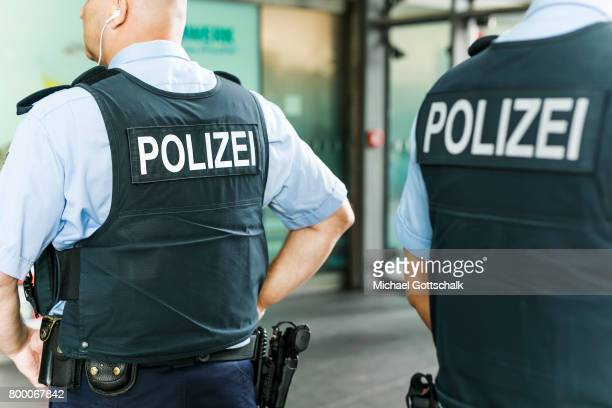 Officers of German Bundespolizei or Federal Police at Berlin Central Train Station on June 23 2017 in Berlin Germany