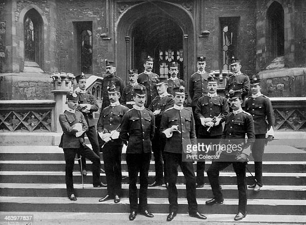 Officers of the 1st Suffolk Regiment at the Tower of London 1895 A print from The Navy and Army Illustrated 17th January 1896