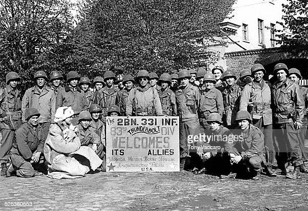 Officers of the 83rd Infantry Division of the US Army welcome the Russians Hohenlepte Germany World War II 8th May 1945