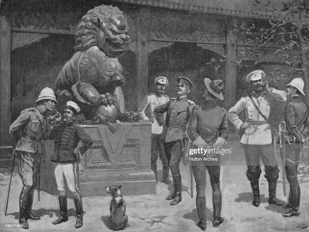 Officers of the Eight-Nation Alliance at the gates of the Forbidden City in Beijing, China, during the Boxer Rebellion, circa 1900. From a drawing by Gordon Browne.